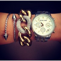 Jewels: link bracelet, gold and silver, gold, silver ...