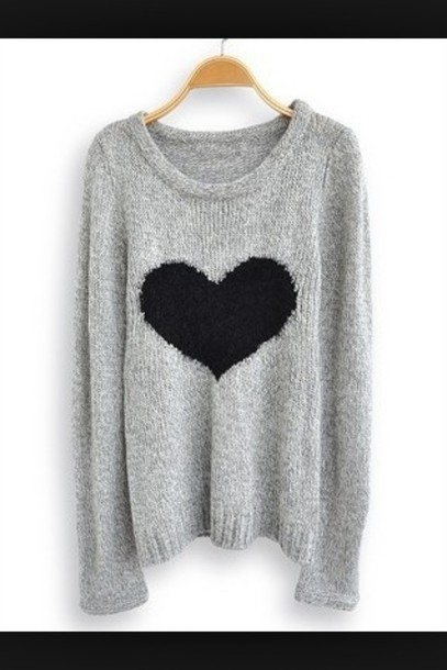 Sweater grey grey black heart  Wheretoget