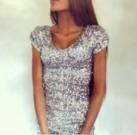 Dress: silver dress, sparkly dress, cute dress, prom dress ...