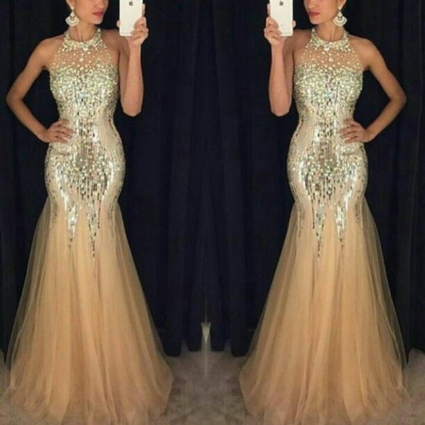 Dress: prom dress, prom, gold sequins, gold, sequin dress