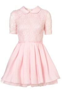 Dress: pastel, pink, kawaii, lace, peter pan collar ...