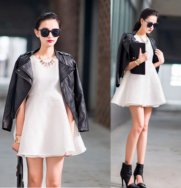 black chairs target revolving tub chair jacket: perfecto, leather jacket, leather, black, vintage, white dress, ...