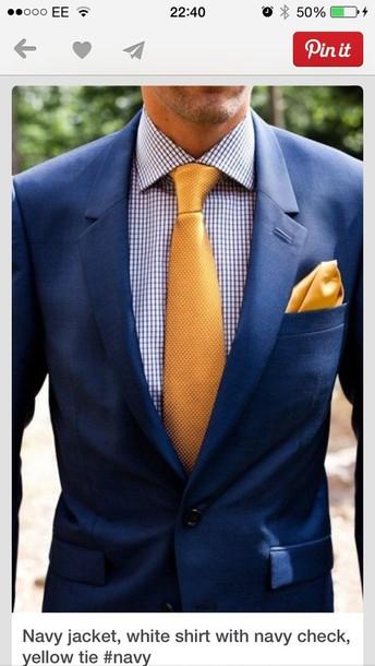 Coat Blue Suit Yellow Tie Smart Wheretoget