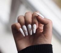 nail polish, tumblr, white nails, acrylic nails, fake ...