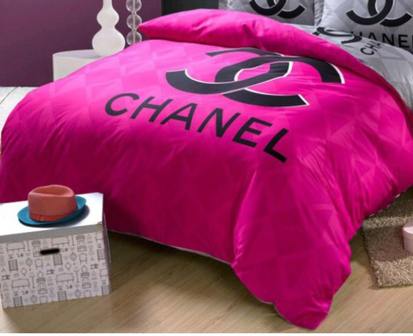 Home accessory chanel bedding home decor pink black