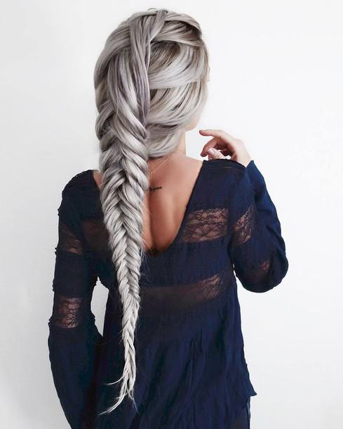 Hair accessory: tumblr, silver hair, hairstyles, braided