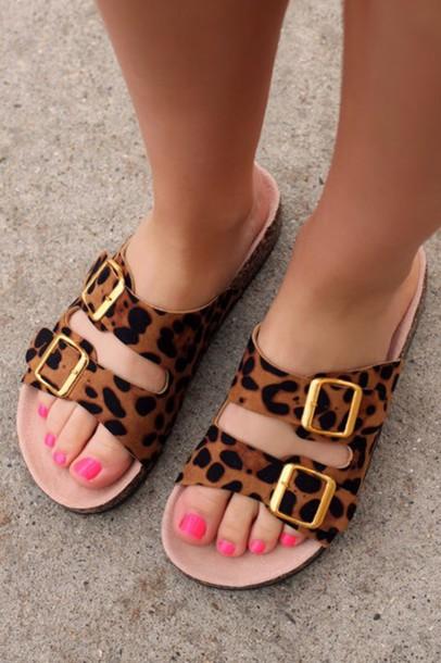 animal print sofas sleepr sofa shoes: birkenstocks, flat sandals, print, leopard ...