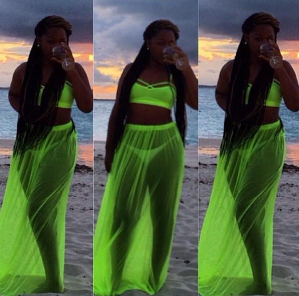 Swimwear neon skirt cover up  Wheretoget