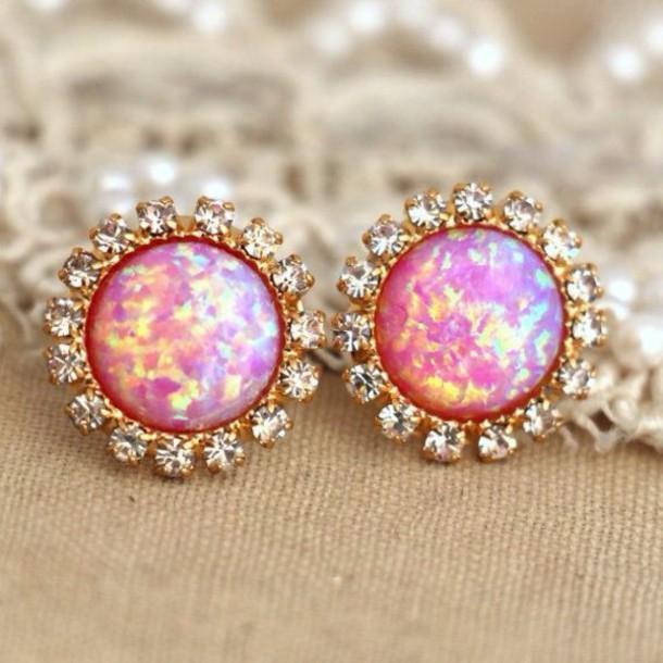 Jewels: earrings, pink earrings, pink, opal, diamonds
