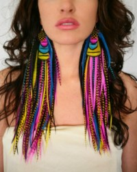 jewels, feathers, earrings - Wheretoget