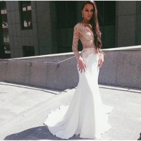 Dress: white lace dress, white, lace, prom, sheer, sexy ...