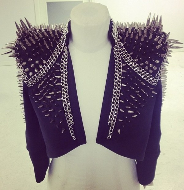 Jacket spikes spiked moto jacket spiked leather jacket