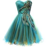 dress, green, peacock, prom dress, peacock dress, fashion ...
