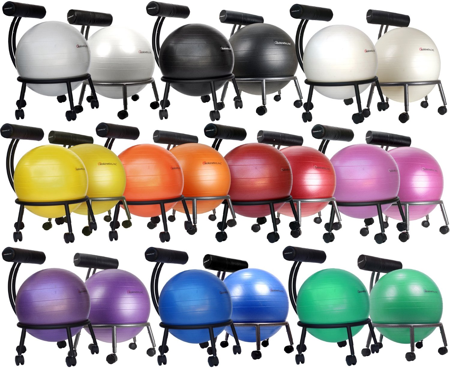 ball chair amazon covers india com isokinetics inc brand fitness silver flake on black metal frame finish exclusive 60mm 2 5 wheels adjustable base and back