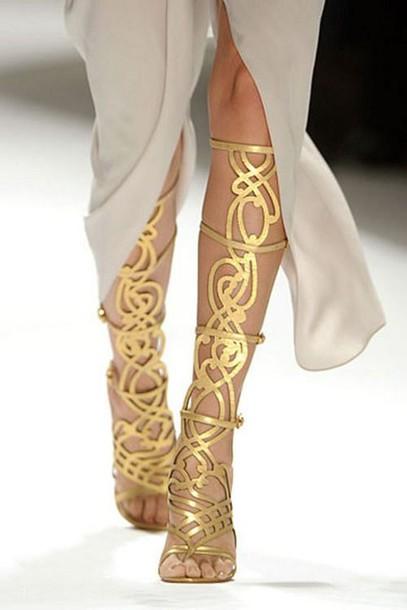Shoes Sandales Elie Tahari Gold Strappy Sandals