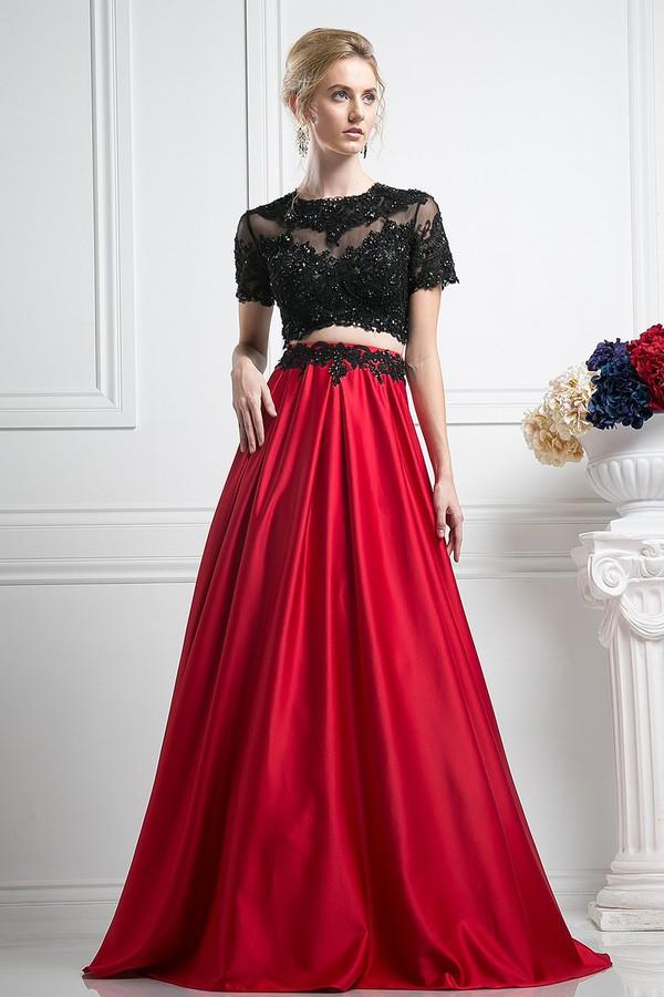 Dress 2 Piece Prom Dresses 2piece Dress Black Crop Top