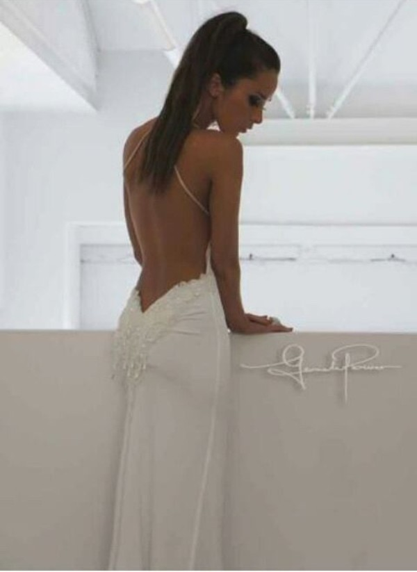 dress backless white tan backless dress wedding wedding dress sequence amazing low back