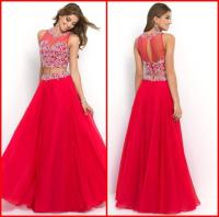 Discount 2015 Two Piece Red Long Prom Dresses Beaded Lace ...