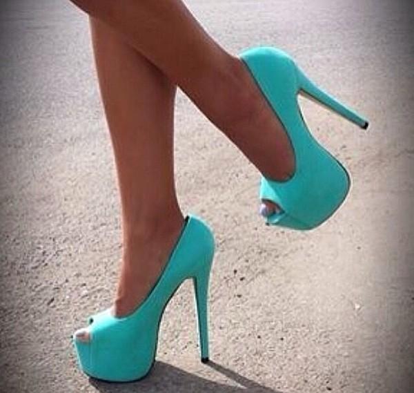 Shoes pumps heels blue sky blue high heels light