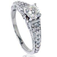 Amazon.com: .60CT Vintage Filigree Diamond Engagement Ring ...
