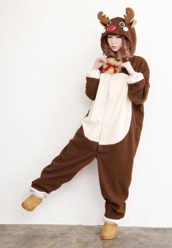 Jumpsuit deer christmas kigurumi deer onesie  Wheretoget