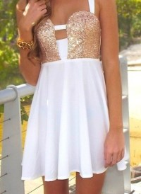 Dress: white, cute, gold, cute dress, sparkly dress ...