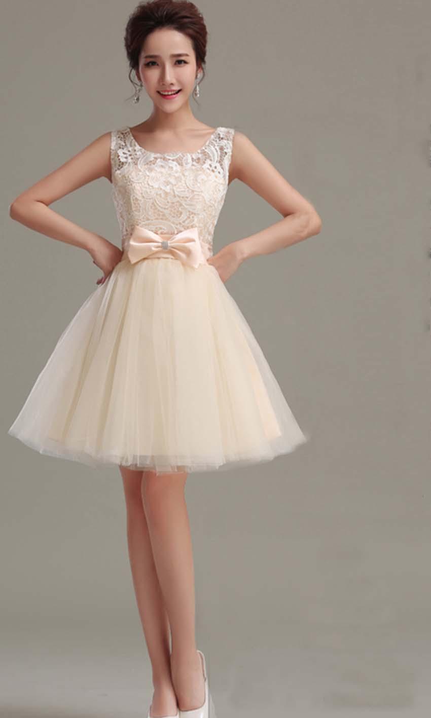 Cute Beige Retro Bow Knot Short Prom Gown KSP348 KSP348