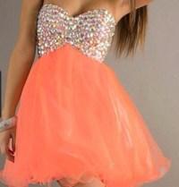 dress, peach dress, diamonds, formal dress, spring, short ...
