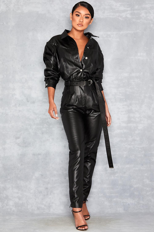 relent black vegan leather