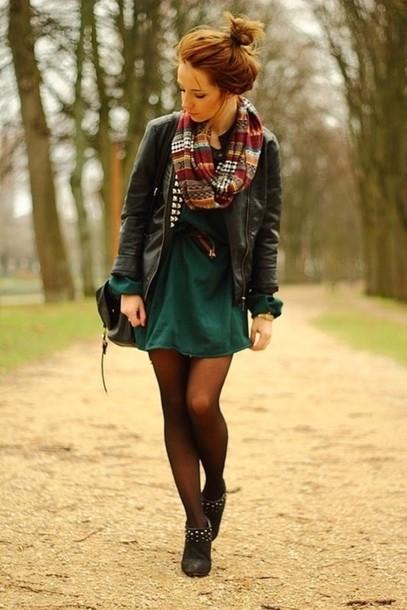 scarf fall autumn layering dress leather jacket tights green black bun boots jacket