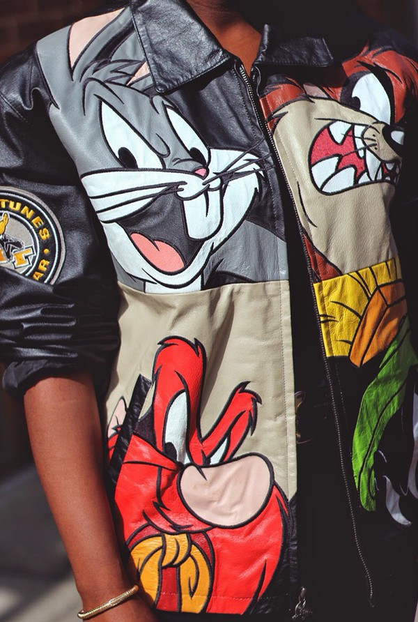 Jacket black cartoon looney toons leather jacket coat