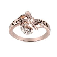 Amazon.com: Swarovski Element Rose Gold Love You Heart ...
