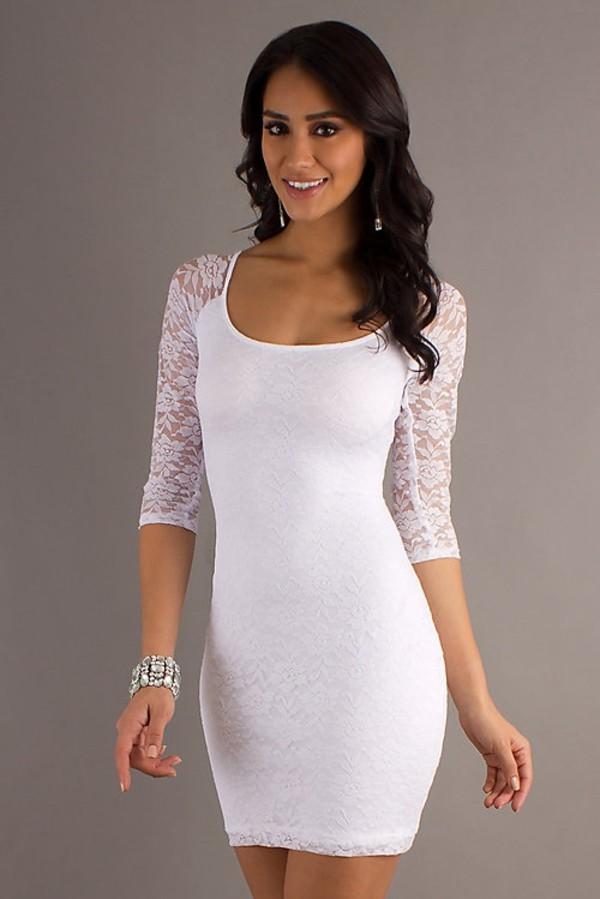 Dress white dress lace bodycon dress tight  Wheretoget