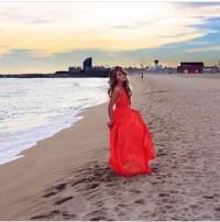 Dress: prom dress, long prom dress, long hair, red dress ...