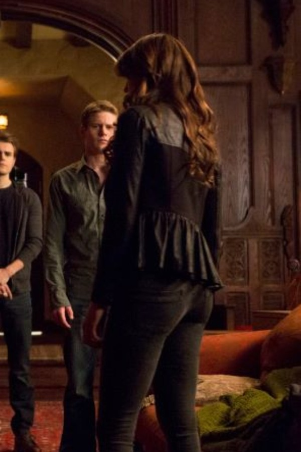 Jeans jacket black leather jacket the vampire diaries
