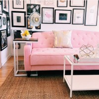 Home accessory: tumblr, living room, pink couch, couch ...