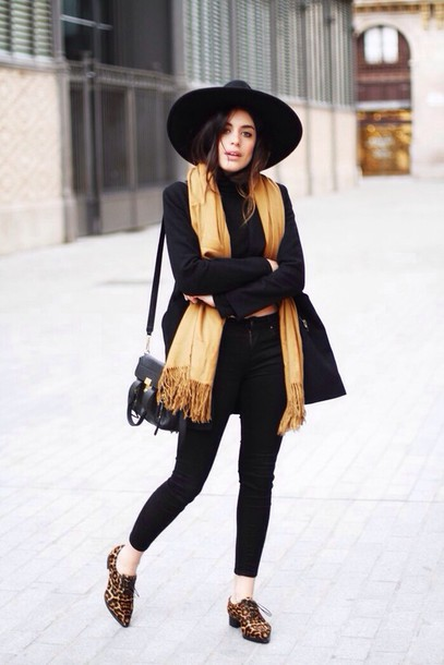 Hat black big round fall outfits animal print shoes