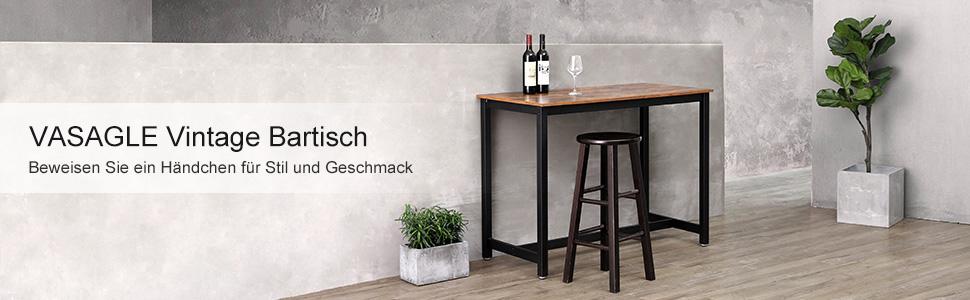 details sur vasagle table haute de bar vintage table polyvalente table de bar bar lbt91x