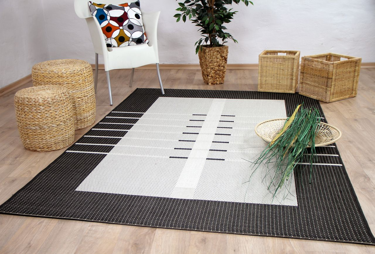 Outdoor Teppich Anthrazit In Und Outdoor Teppich Flachgewebe Carpetto Bordüre Trend Anthrazit