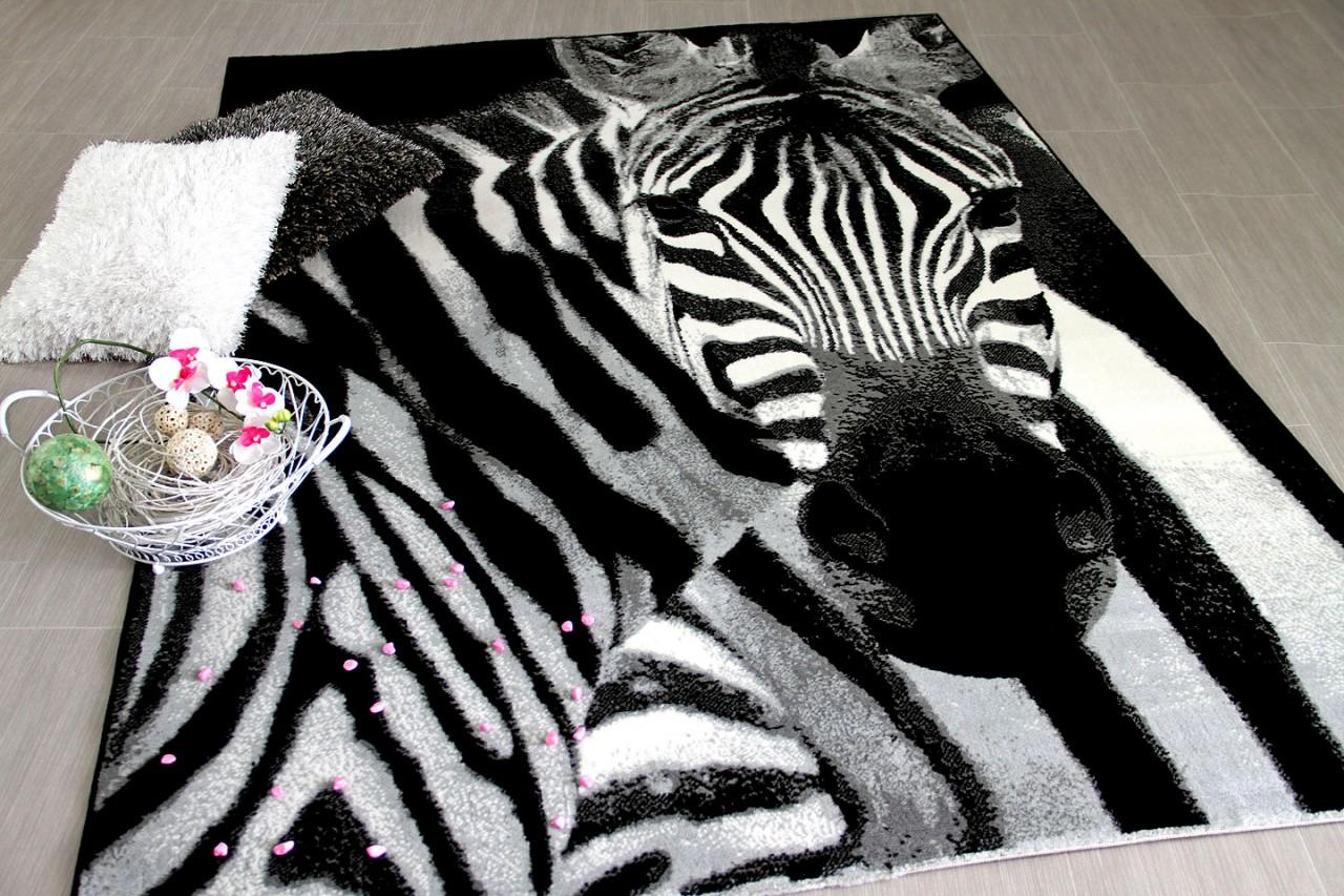 Teppich Zebra Style Beige Kasten Design Patchwork Leoparden Retro
