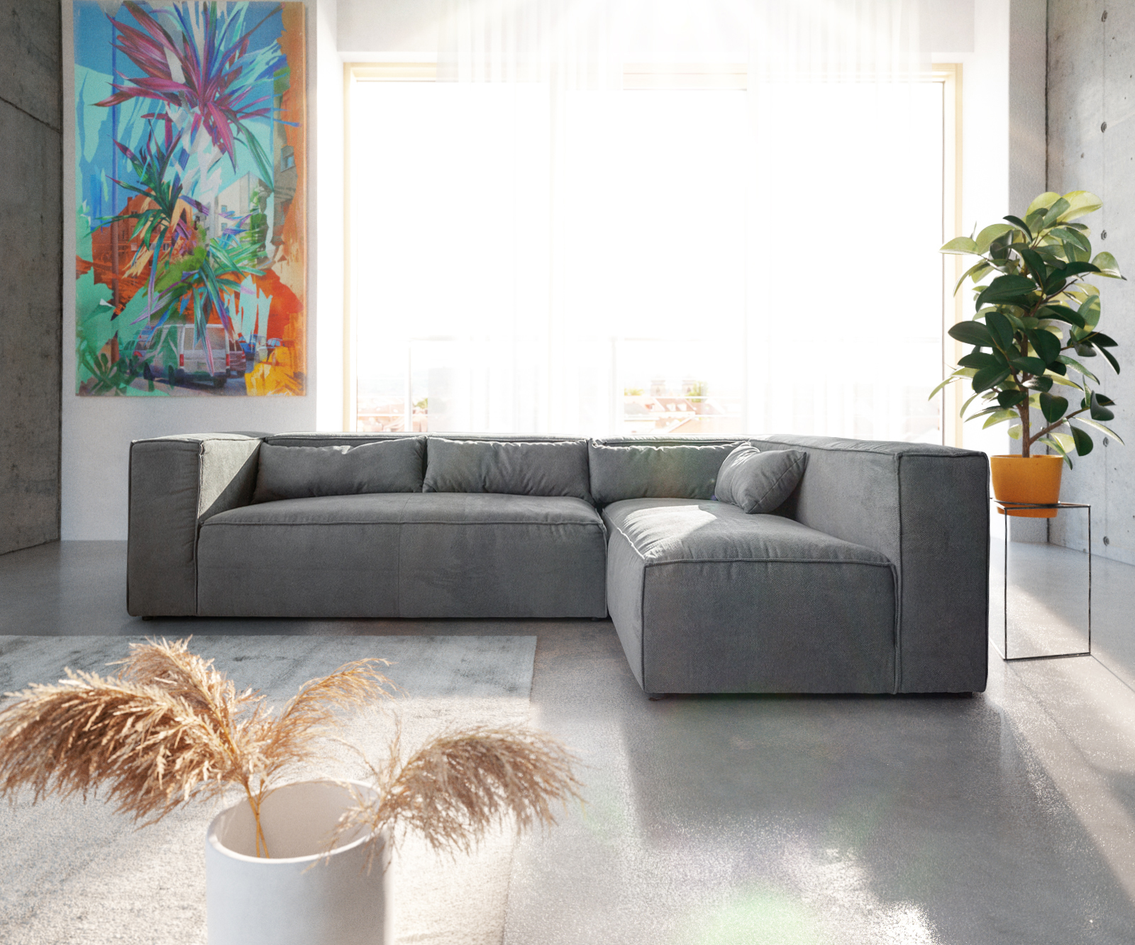 Couch Brom Taupe 267x173 Cm Ottomane Variabel Ecksofa Kaufen Bei Delife Gmbh