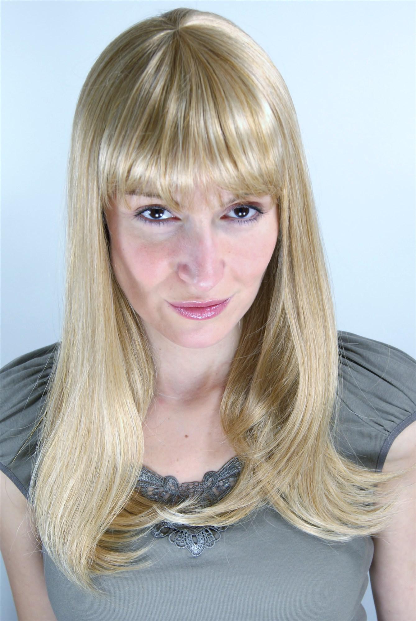 Blonde glatte lange Percke mit kurzem geradem Pony