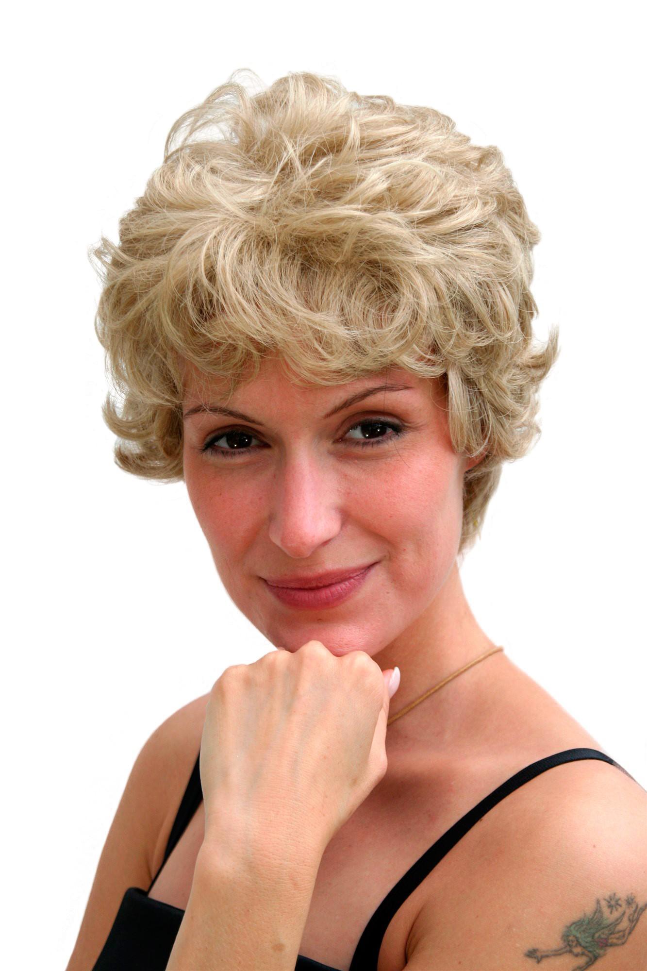 Damenpercke blond RetroKurzhaarschnitt gekruseltes Haar