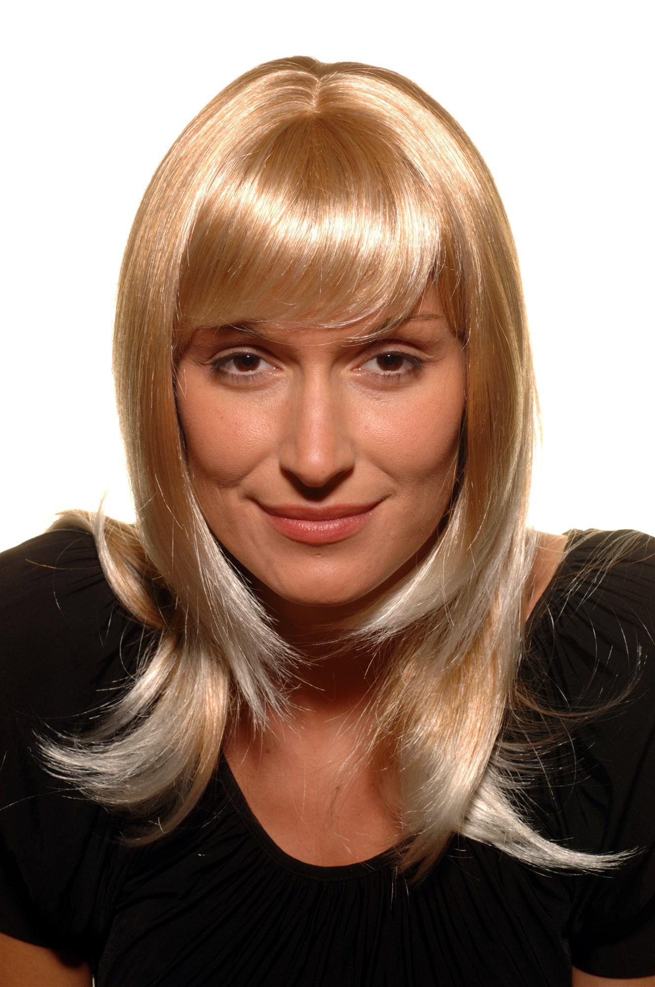 Damen Percke BLOND edel Haarschnitt glatt schulterlang Pony 45 cm 300327T613  Kaufen