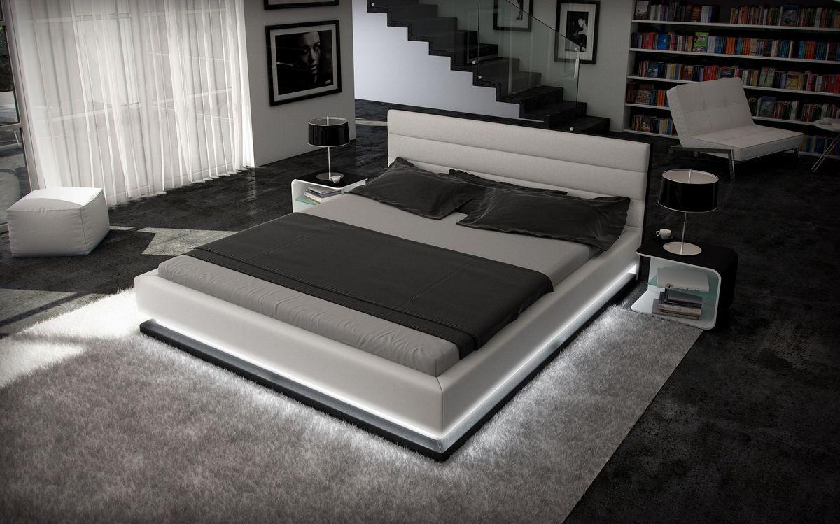 Designer Bett Moonlight Bettgestell mit LED Beleuchtung 140x200 160x200 180x200 200x200