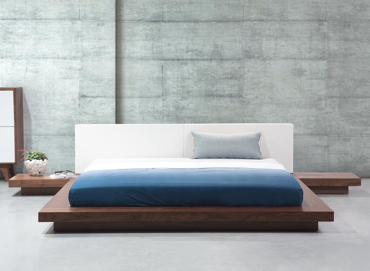 Massives Designer Bett Japan Style 180x200 cm Holz Bett Braun mit Lattenrost  Futonbett