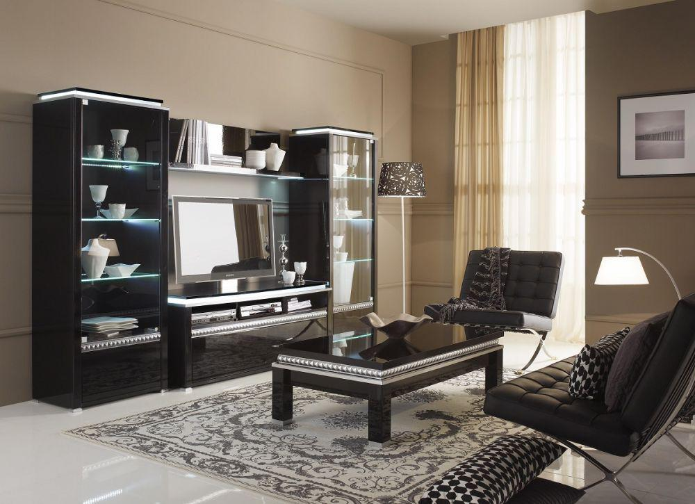 Wohnzimmer In Schwarz Weiss Stil Wohnzimmer tv wand