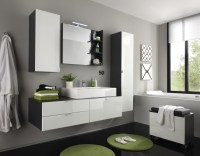 Badezimmer Set Jonte 4-teilig in Wei Grau Hochglanz ...