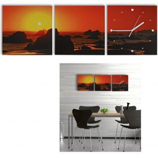 3 Teilige Leinwandbilder mit Wanduhr aufhnge fertig Kunstdruck  BEAUTY  RELAX  WELLNESS