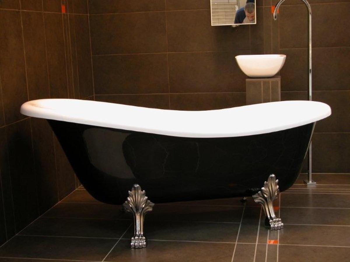 Freistehende Luxus Badewanne Jugendstil Roma Schwarz/Weiß/Chrom